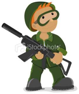 Soldier holding the airsoft gun Royalty Free Stock Vector Art