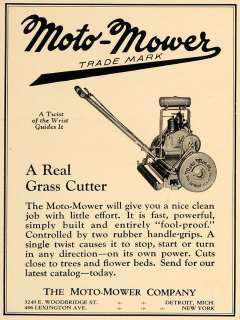 1926 Ad Moto Mower Lawn Cutter Antique Garden Tool   ORIGINAL