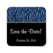 Midnight and Blue Zebra Wedding Save the Date Stickers by JaclinArt