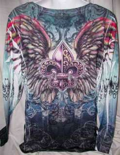 Fleur De Lis Mythical Angel Wing Tattoo Top PLUS 1XL (14 16)