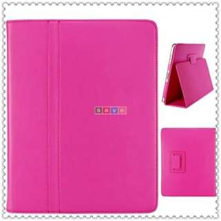 Apple iPad 1 hot Pink Leather Skin Case Cover Pouch PC