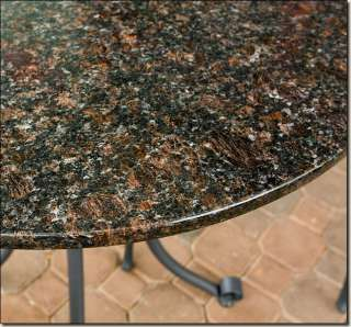 Outdoor Patio Furniture 3 Pc Dark Wicker & Granite Table Top Bistro