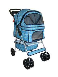 Blue Grid 4 Wheels Pet Dog Cat Stroller w/RainCover 814836010832
