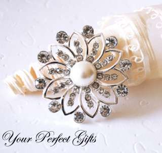 Round 46mm Rhinestone Crystal Diamante Pearl Brooch Pin