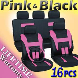 Pink and Black Complete Car Seat Cover Set Bucket Bench
