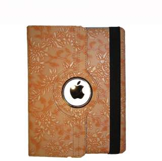 iPad 2 Smart Cover Leather Case Rotating Stand Wake/Sleep Embossed