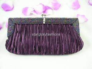 Beaded Wedding Evening Purse Clutch Handbag Bag, Purple