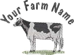 Holstein Dairy Cow Custom Farm Name on Hat