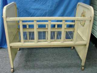 Vintage Antique Doll Baby Crib Bed by Amsco DOLL E CRIB Metal Tin Toy