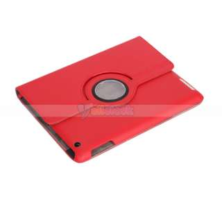 Magnetic Smart Cover Leather Case Rotating Stand for Apple iPad 2 Red