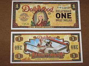 2011 $1 DOLLYWOOD DOLLY PARTON DOLLAR + DISNEY DOLLAR ENVELOPE