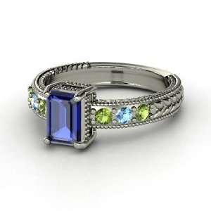 Emerald Isle Ring, Emerald Cut Sapphire 14K White Gold Ring with Green