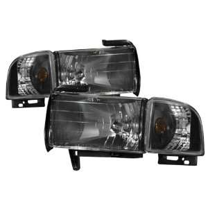94 01 Dodge Ram Black Headlights /w Amber Corner Light Automotive