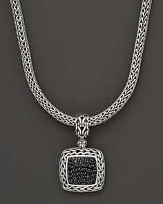 John Hardy Batu Classic Medium Square Pendant with Black Sapphire