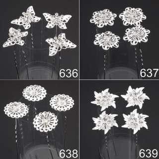 6pcs Bridal Clear Crystal Rhinestone Flower Hair Pins