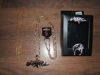 Officially Licensed Gold Tone 2PAC Pendant w/Chain