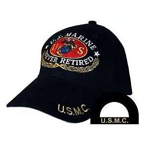 United States Marine Never Retired Black Hat Cap USMC