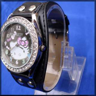 10pcs hello kitty lady girl crystal watches hw08