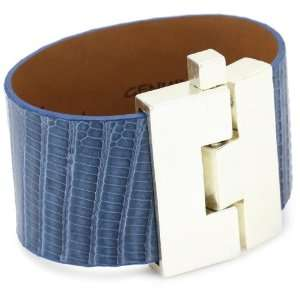Leighelena Jigsaw Denim Lizard Cuff Bracelet Jewelry