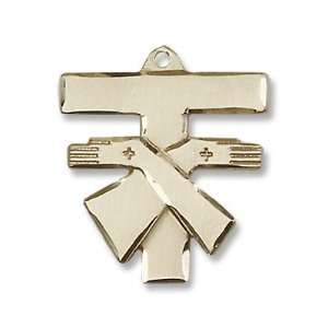 Gold Filled Franciscan Cross Pendant Stainless Gold Heavy