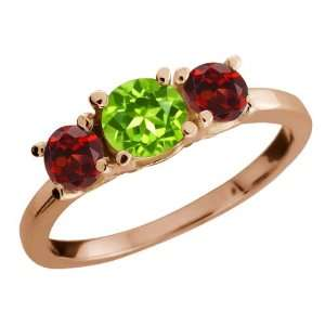 34 Ct Round Green Peridot and Garnet Gold Plated Sterling Silver