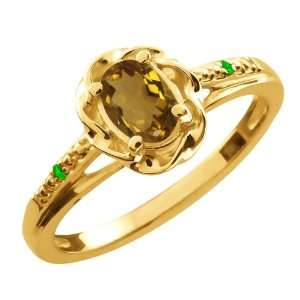 Oval Whiskey Quartz Green Tsavorite Gold Plated Sterling Silver Ring