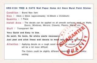 Cats & Tree PEEL & STICK WALL ART DECOR STICKER ks#4