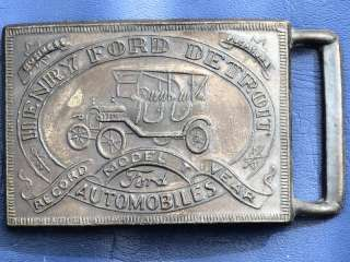 Vintage HENRY FORD DETROIT Model T Brass Belt Buckle