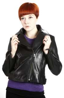 United Face Womens New Black Lambskin Leather Motorcycle Biker Jacket