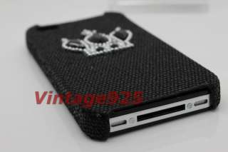 Black Crown Iphone 4G 4S Plastic Hard Back Skin Cover Case