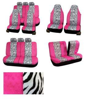 Pink Zebra Velour Car Seat Covers PINK/WHITE 115