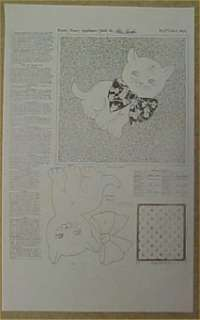 Vintage Quilt Pattern Mail Order Kitty CAT TOO CUTE Kitten Applique