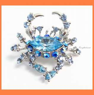 CRAB BLUE AUSTRIAN RHINESTONE CRYSTAL BROOCH PIN