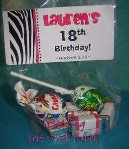 Fun ZEBRA Theme Birthday Party Favor TREAT BAG Stickers