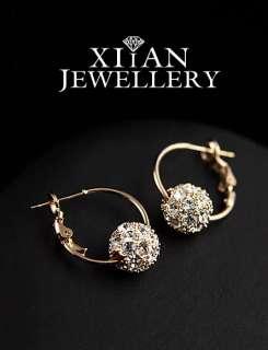 18K Rose Gold Plated Swarovski Crystal Hoop Earrings