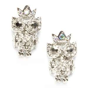 Crystal Big Eye Owl Princess Crown Stud Earrings Jewelry