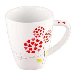 Starbucks Coffee POM POM HEARTS Valentines Day Mug 12 oz